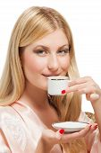 picture of nightgown  - Beauriful girl in nightgown drinking coffee on bed - JPG