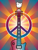 stock photo of woodstock  - An illustration of a guitar peace symbol and dove dedicated to the Woodstock Music and Art Fair of 1969 - JPG