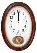 picture of pendulum clock  - twelve o clock midnight on oval wall clock - JPG