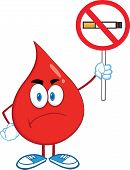 Angry Red Blood Drop Character Holding up A No Smoking Sign