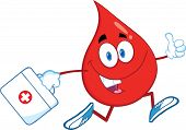 Red Blood Drop Running With A Medicine Bag