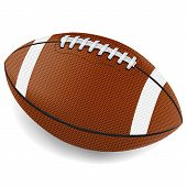 stock photo of oval  - A realistic illustration of an American football on a white background - JPG