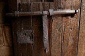 Old Medieval Lock On Wooden Castle Door poster