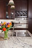 foto of granite  - Modern house new contemporary luxury custom kitchen and refreshments on exotic granite countertop - JPG