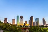 image of bayou  - View on downtown Houston in late afternoon with skyscraper - JPG