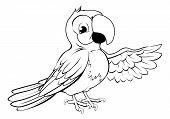 picture of green-winged macaw  - Black and white illustration of a happy cartoon parrot pointing its wing - JPG