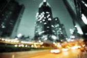 picture of hong kong bridge  - Night lights of the Hong Kong out of focus - JPG