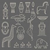 stock photo of drum-set  - Vector set of stylized african icons - JPG