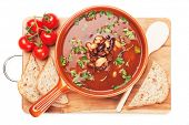 image of kidney beans  - Thick kidney bean soup with bread and cherry tomato - JPG