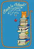 Back to School Poster - Hand drawn back-to-school poster with tabby kitten sitting on top of a stack