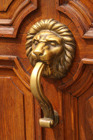 stock photo of woodcarving  - Ornate wooden doors Sofia - JPG