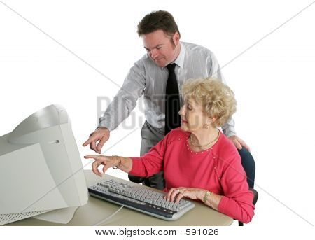 Senior Lady Computer Lesson