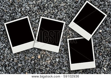 Photo On Asphalt Texture Background