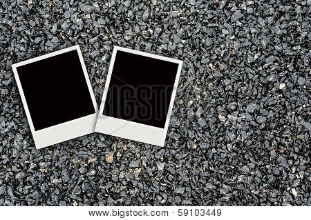 Two photo On Asphalt Texture