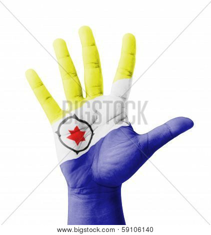 Open Hand Raised, Multi Purpose Concept, Bonaire Flag Painted - Isolated On White Background