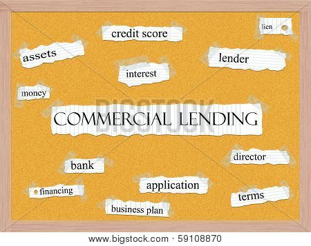 Commercial Lending Corkboard Word Concept