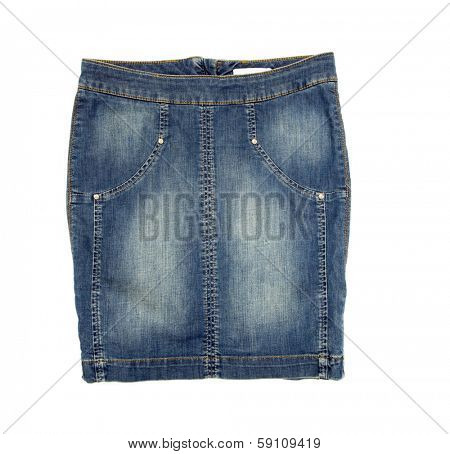 Jean skirt isolated on white background