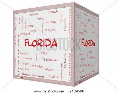 Florida State Word Cloud Concept On A 3D Cube Whiteboard