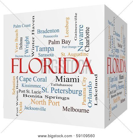 Florida State 3D Cube Word Cloud Concept