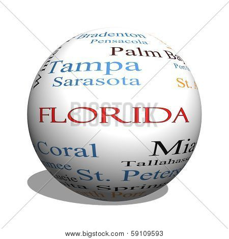 Florida State 3D Sphere Word Cloud Concept