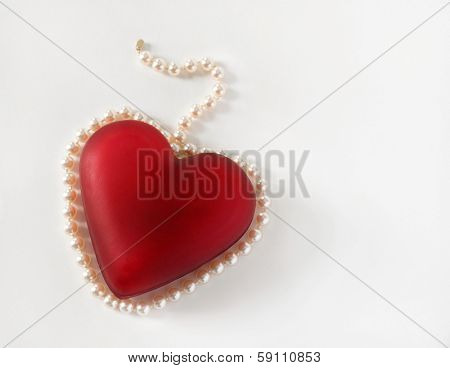 Red Heart Surrounded with Pearls
