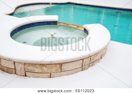 Outdoor hot tub or spa in snow