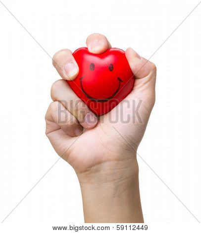 Hand squeezing a stress ball