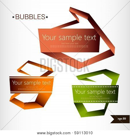 Abstract origami speech bubble vector backgrounds set.