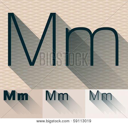 Vector illustration of flat modern long transparent shadow alphabet. Letter m