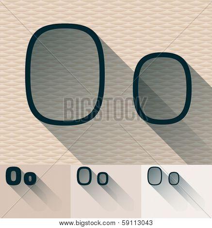 Vector illustration of flat modern long transparent shadow alphabet. Letter o