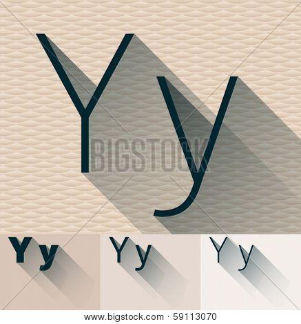 Vector illustration of flat modern long transparent shadow alphabet. Letter y