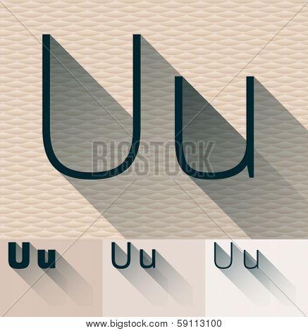 Vector illustration of flat modern long transparent shadow alphabet. Letter u