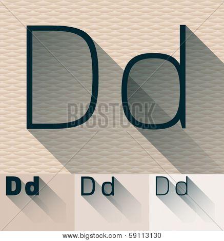 Vector illustration of flat modern long transparent shadow alphabet. Letter d