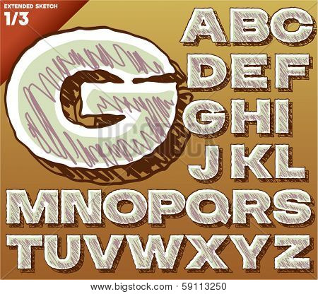 Sketch alphabet. Vector illustration of hand drawing font. Bold extended style. Uppercase letters letters letters