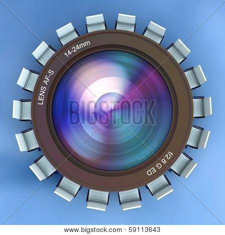 3D rendering of a camera lens surrounded by chairs looking like a meeting table