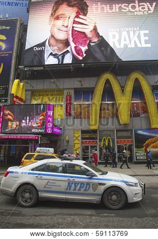 NYPD car providing security at the Times Square in New York