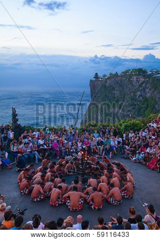 DENPASAR - JULY 27: Traditional Balinese Kecak dance shown in Denpasar, Bali, Indonesia on July 27, 2010. Kecak (also known as Ramayana Monkey Chant) is very popular cultural show on Bali