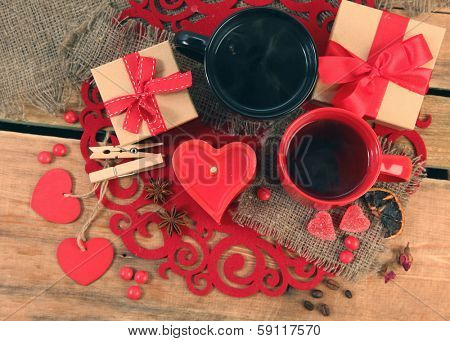 two cups of tea on wooden table