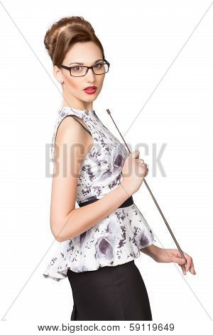 Young sexy girl with a pointer in points