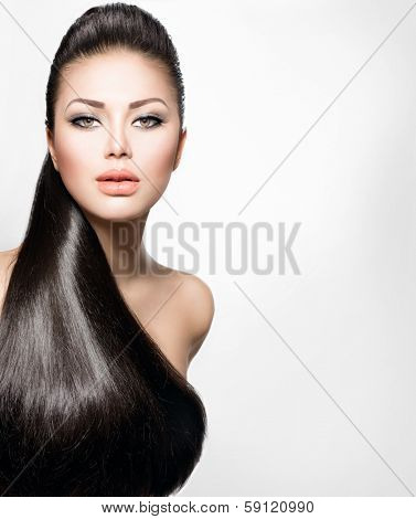 Beauty Brunette Fashion Model Girl with Long Healthy Straight Hair, Ponytail Hair. Hairdo. Trendy hairstyle. Beautiful Woman with brown long Healthy smooth hair