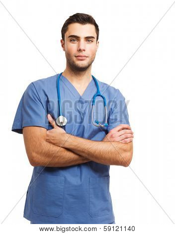 Portrait of an handsome young doctor. Isolated on white