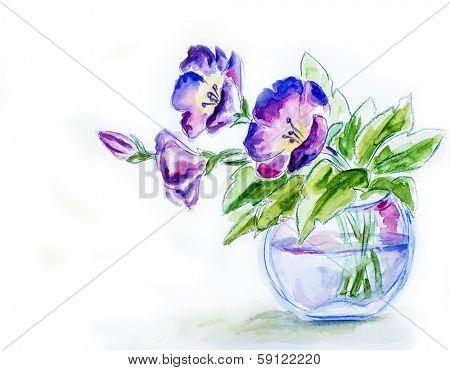 Spring flowers in vase, watercolor illustration