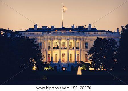 The White House at night - Washington DC - Sepia toned
