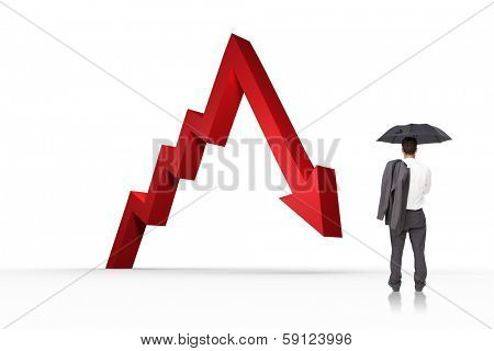 Businessman standing back to camera holding umbrella and jacket on shoulder against red arrow pointing down