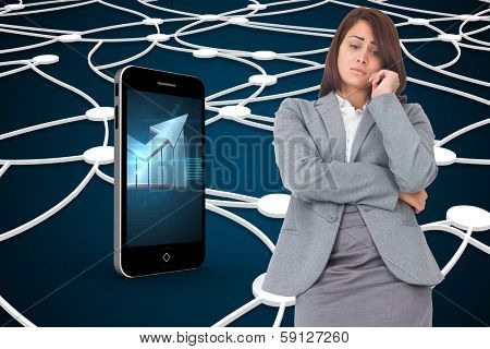 Worried businesswoman against shiny lines on black background