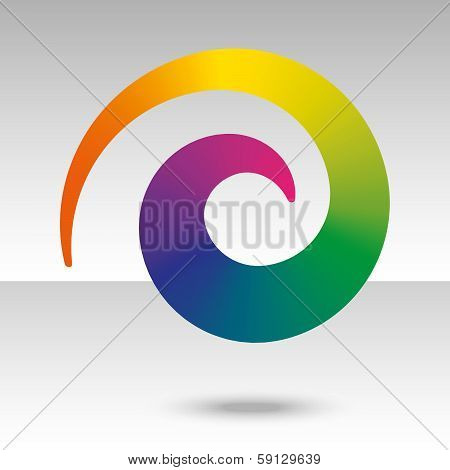 Rainbow Spiral With Shadow