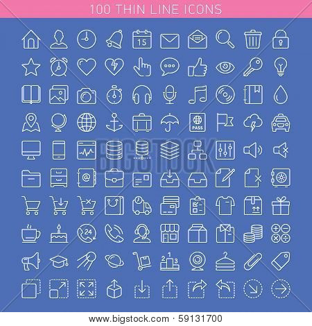 100 Thin Line Icons