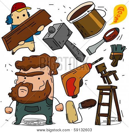 Carpenter and contruction set. vector illustration