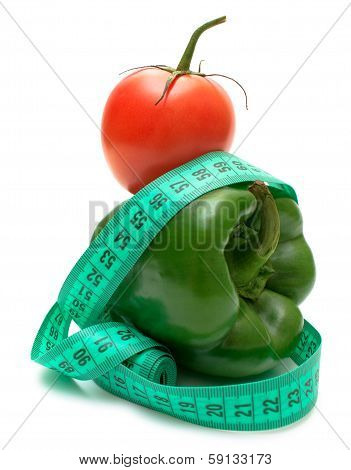 Ideal Diet Pair  Green Bell Pepper And Tomato Isolated On White