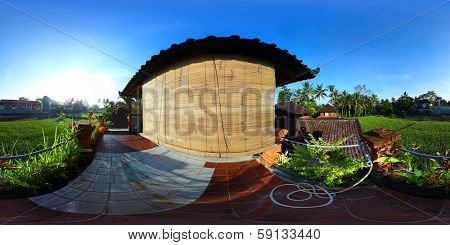 Spherical, 360 degrees panorama (equirectangular projection) of a balcony of traditional house, Bali, Indonesia